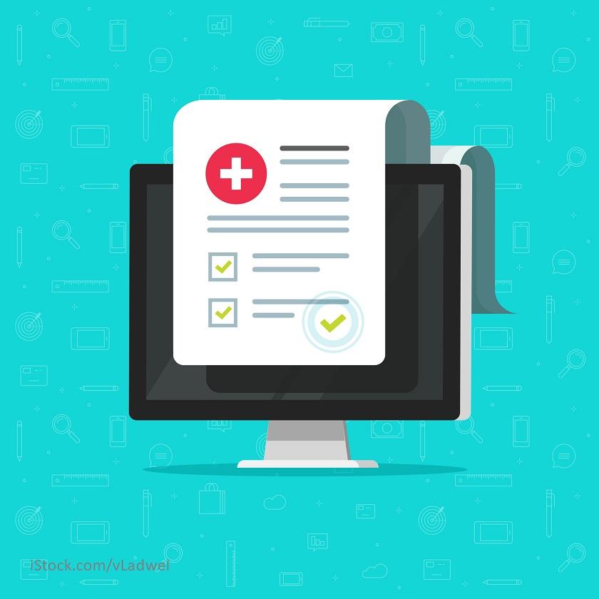 Eine Illustration zeigt eine elektronische Patientenakte.