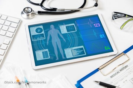 elektronisches Endgeraet mit Darstellung einer elektonischen Patientenakte.
