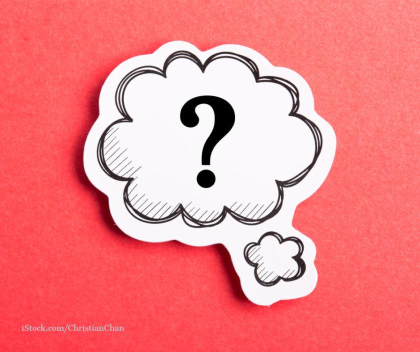 Sprechblase mit einem Fragezeichen auf rotem Hintergrund