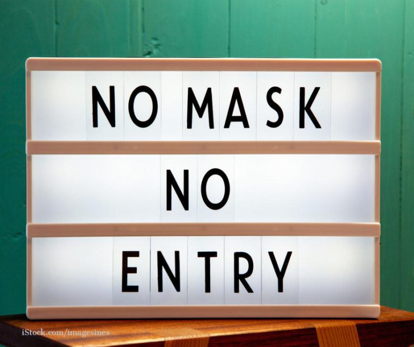 Schild mit der Aufschrift- Ohne Maske kein Eintritt