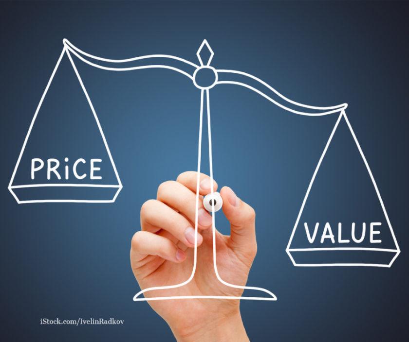 Preis und Wert in einer Waage