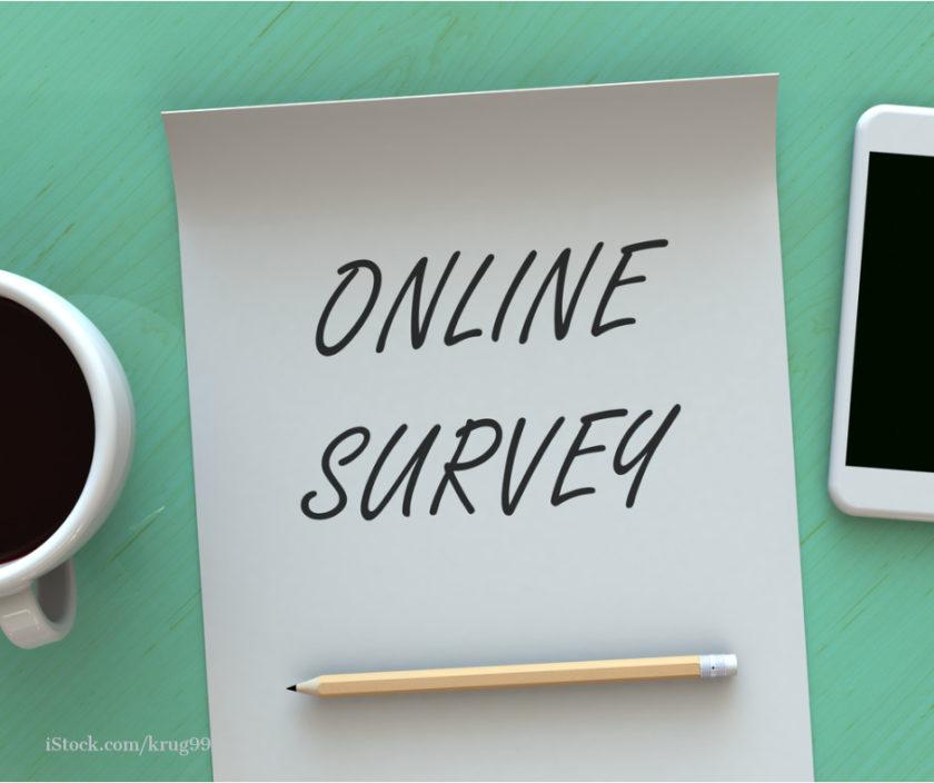 Online Survey steht auf einem weißen Blatt Papier