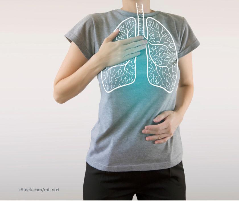 Lungendarstellung auf T-Shirt gezeichnet