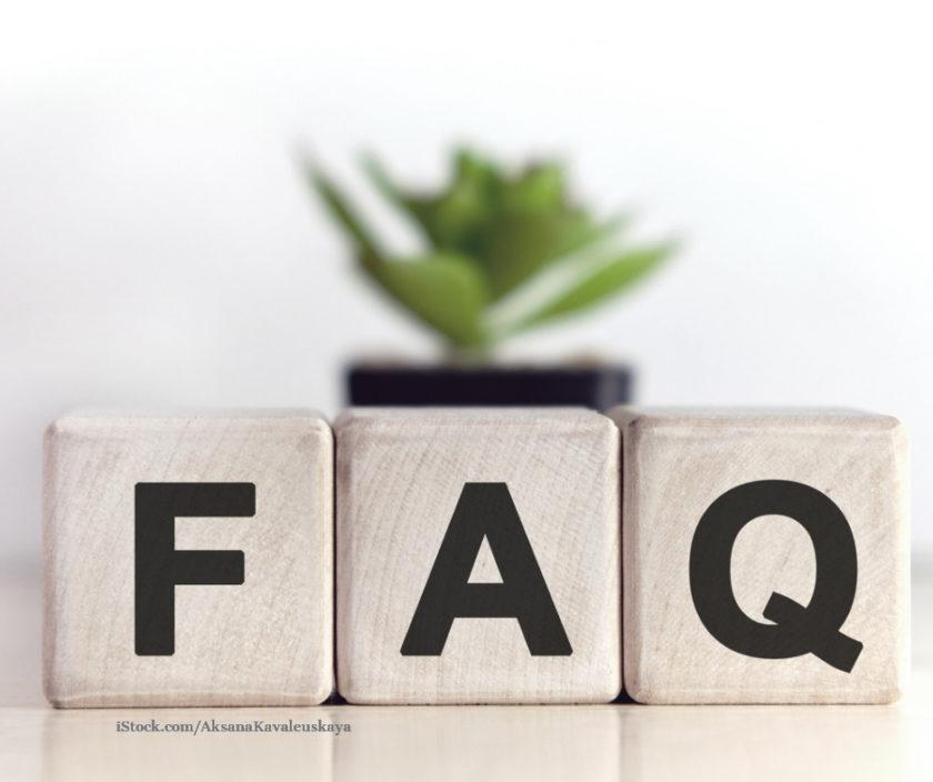 Wuerfel mit der Aufschrift FAQ