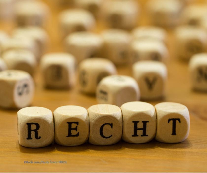 Wuerfel mit den Buchstaben R E C H T